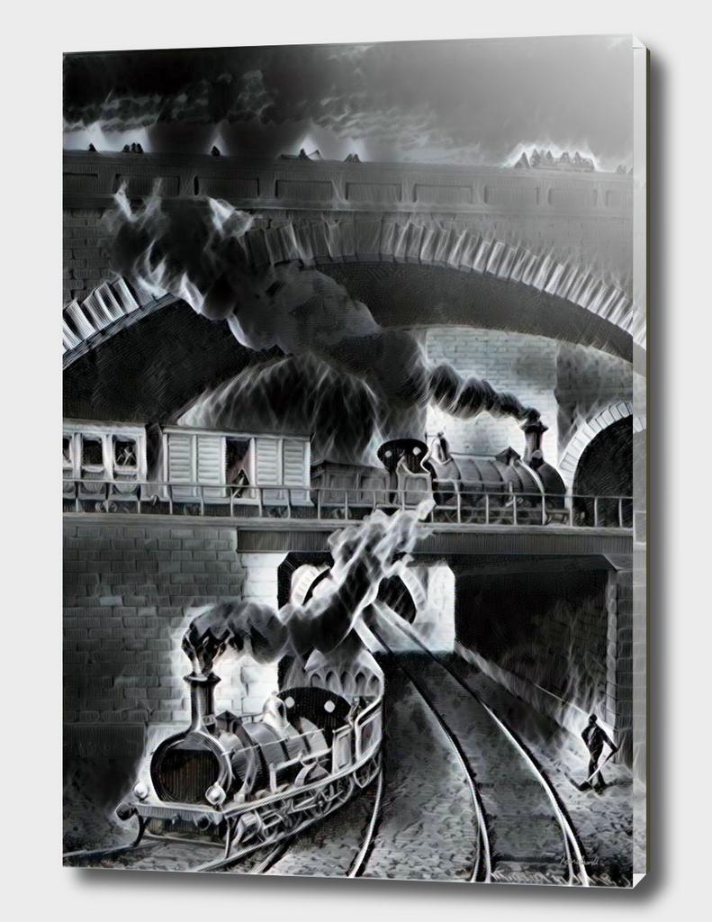Steam Trains Black & Gray