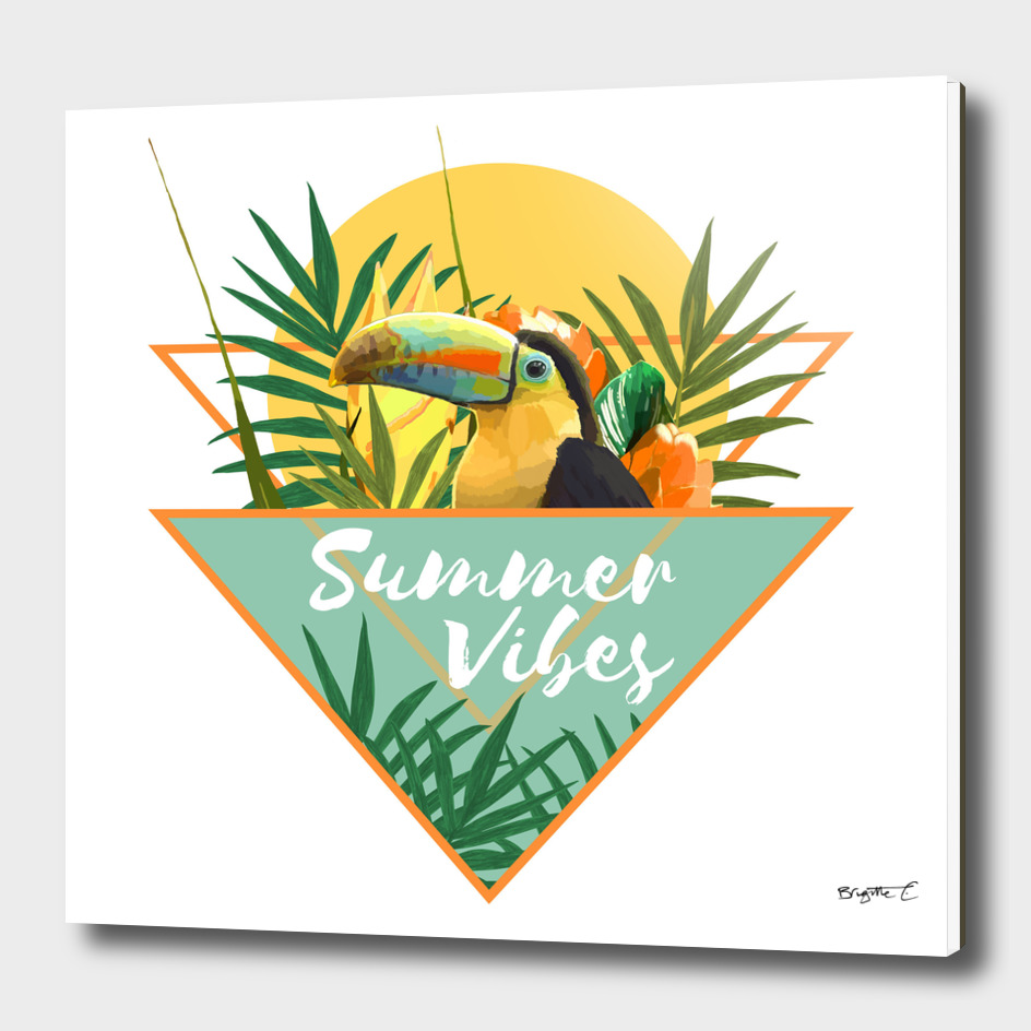 Summer Vibes Typography Tropical Bouquet With Toucan