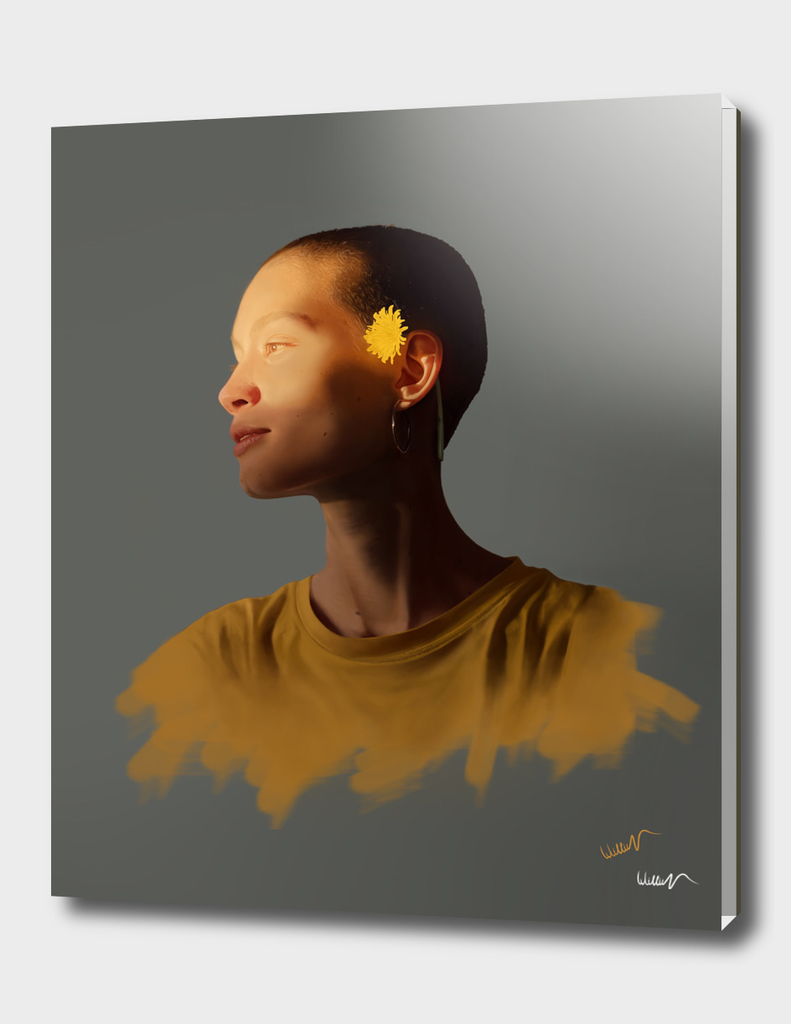 girl and yellow flower hyper realistic paint