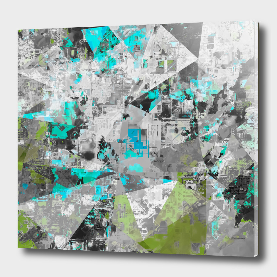psychedelic geometric painting abstract in blue green