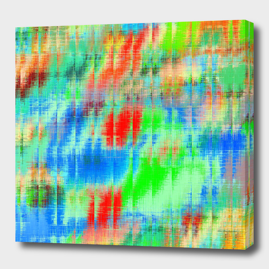 geometric painting texture abstract in green blue orange