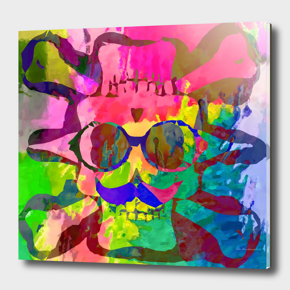 old funny skull art portrait with splash painting abstract