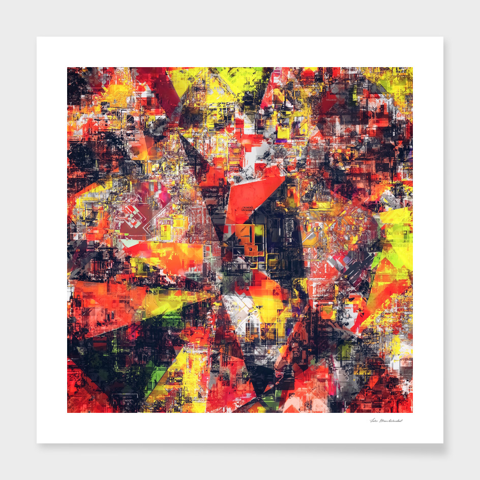 geometric pattern painting texture abstract in red yellow