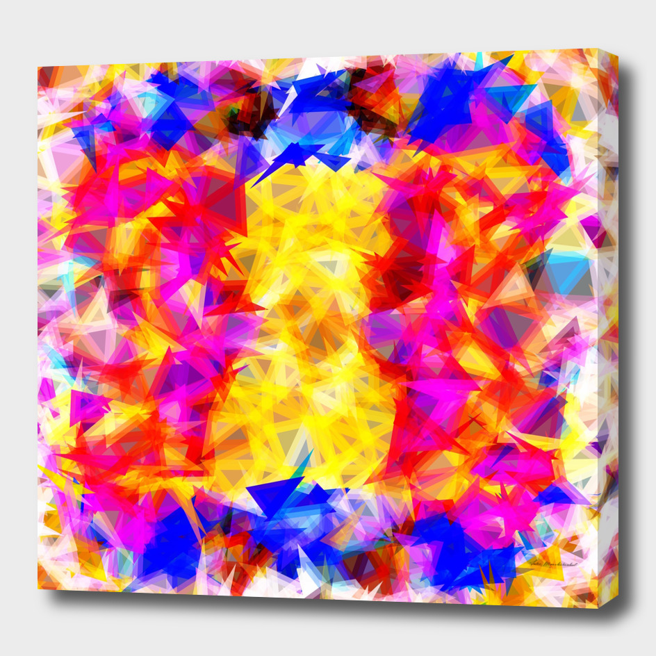 geometric triangle pattern abstract in pink yellow blue