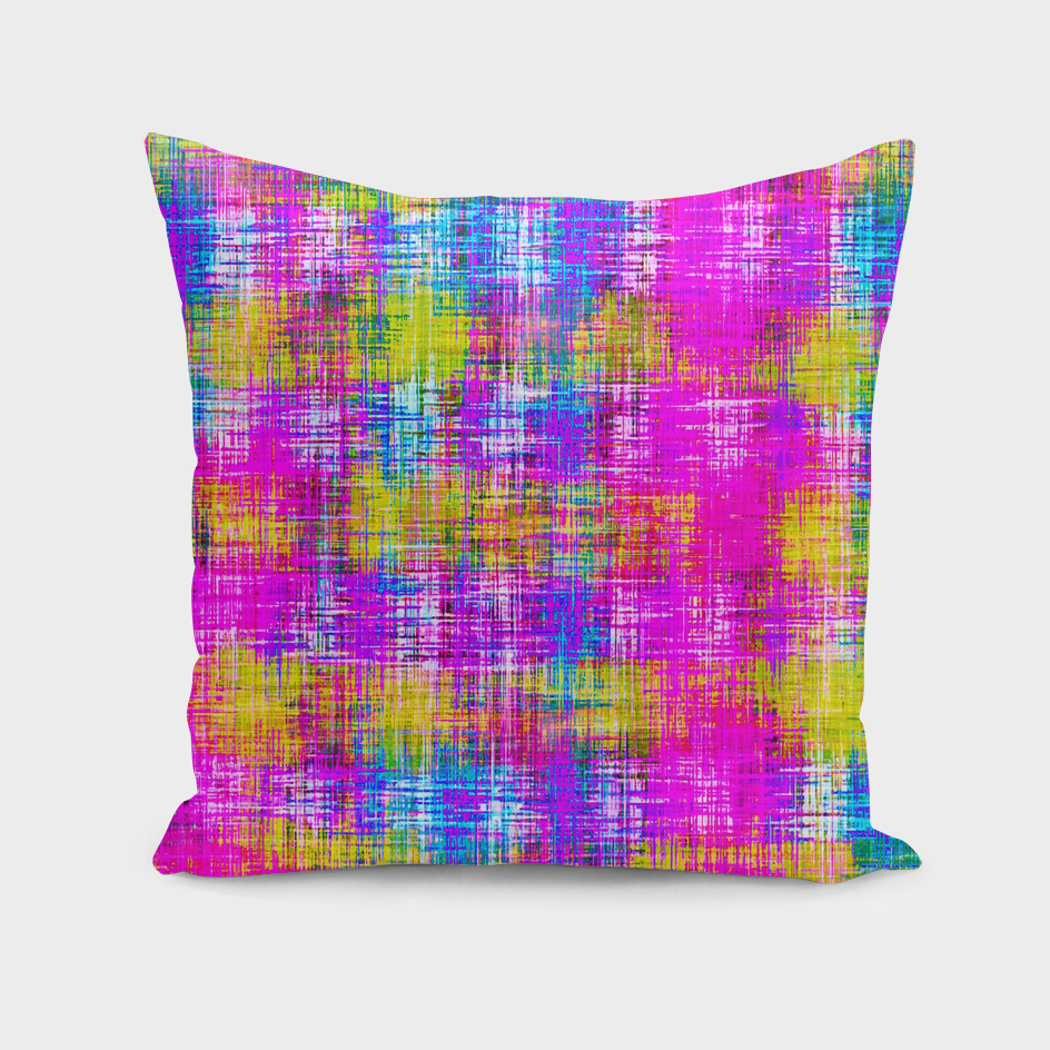 plaid line pattern painting abstract in pink blue yellow