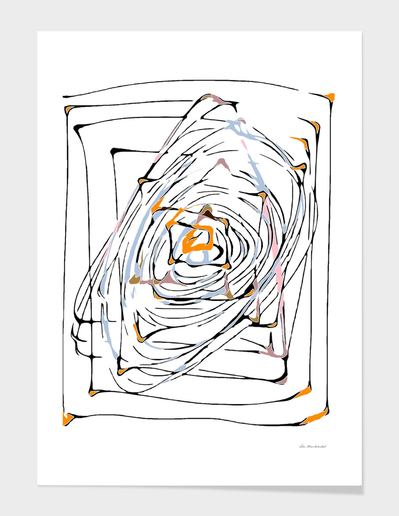 geometric square and triangle pattern abstract in orange