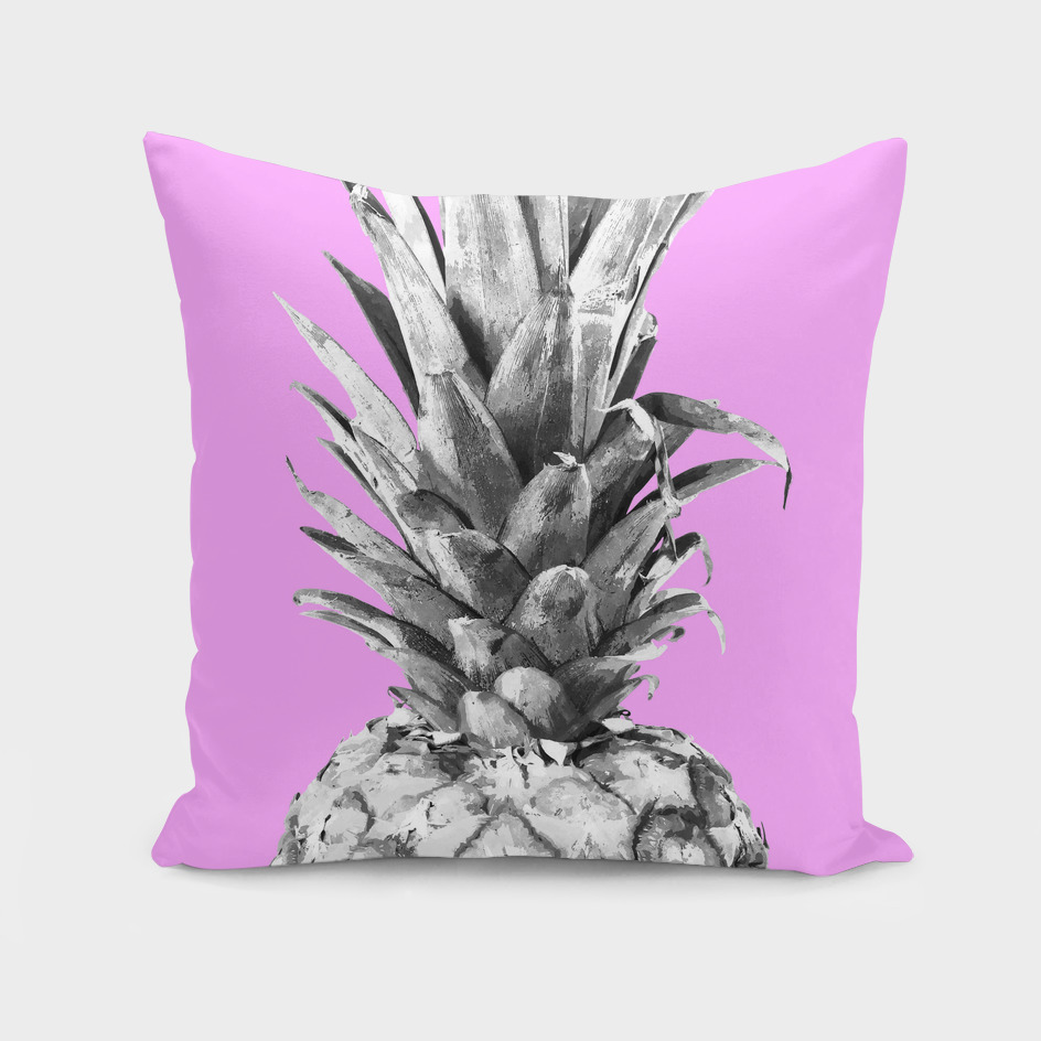 Black and White Pineapple Pink Background