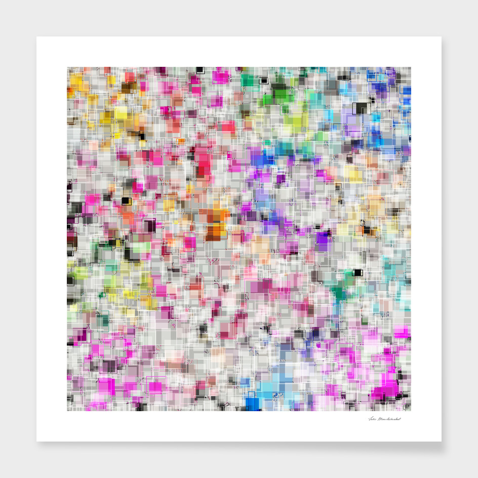 geometric square pattern abstract in pink blue orange