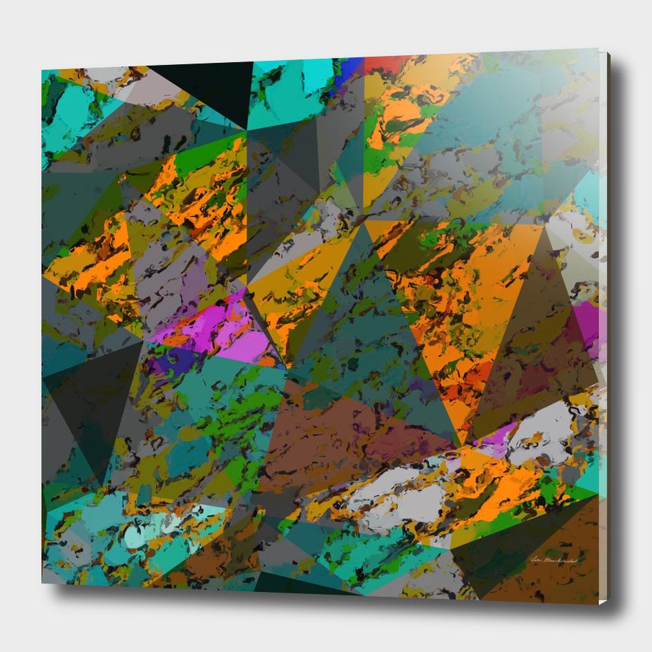 geometric triangle pattern abstract in green orange