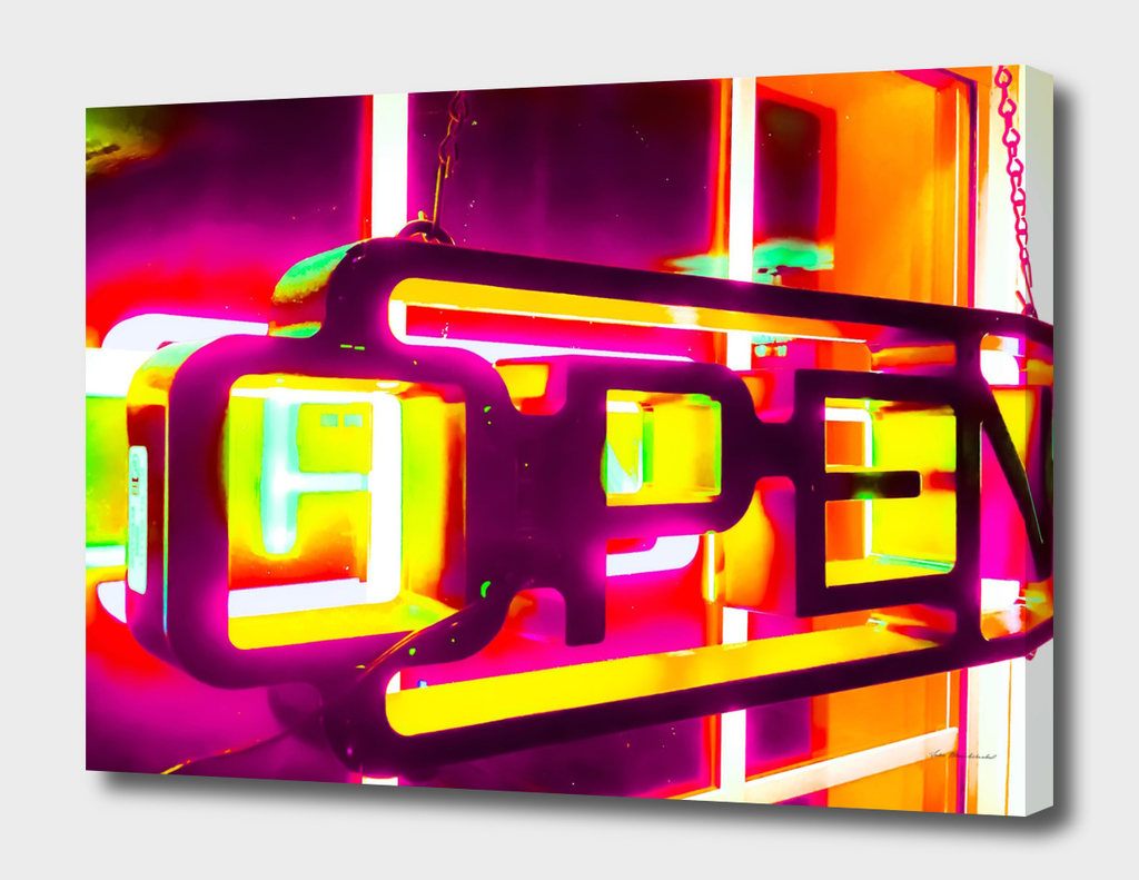 open neon sign in orange pink yellow