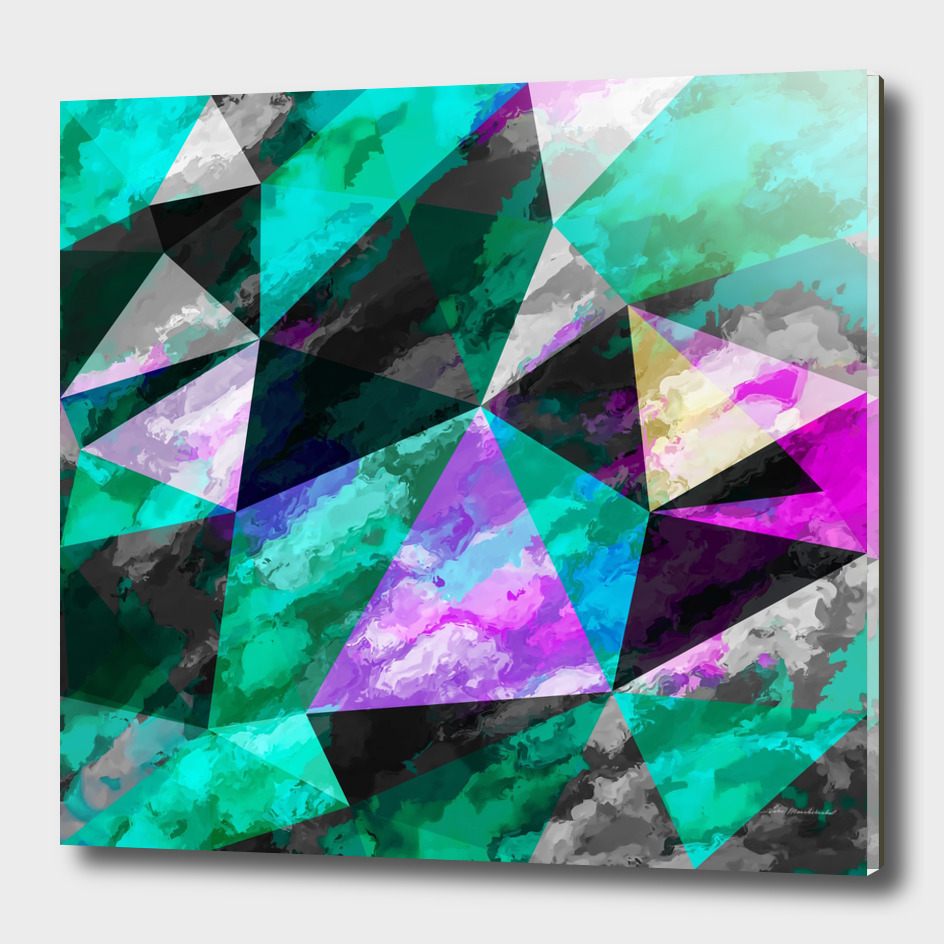 geometric triangle polygon pattern abstract in green pink