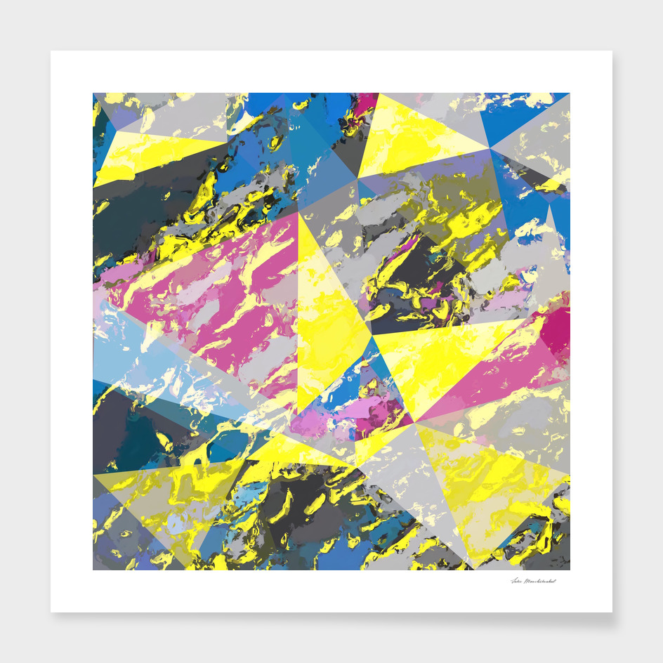 geometric triangle polygon pattern abstract in yellow blue