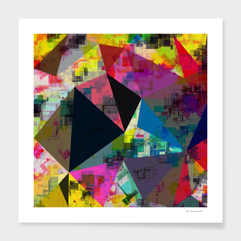 geometric triangle polygon pattern abstract in pink blue red