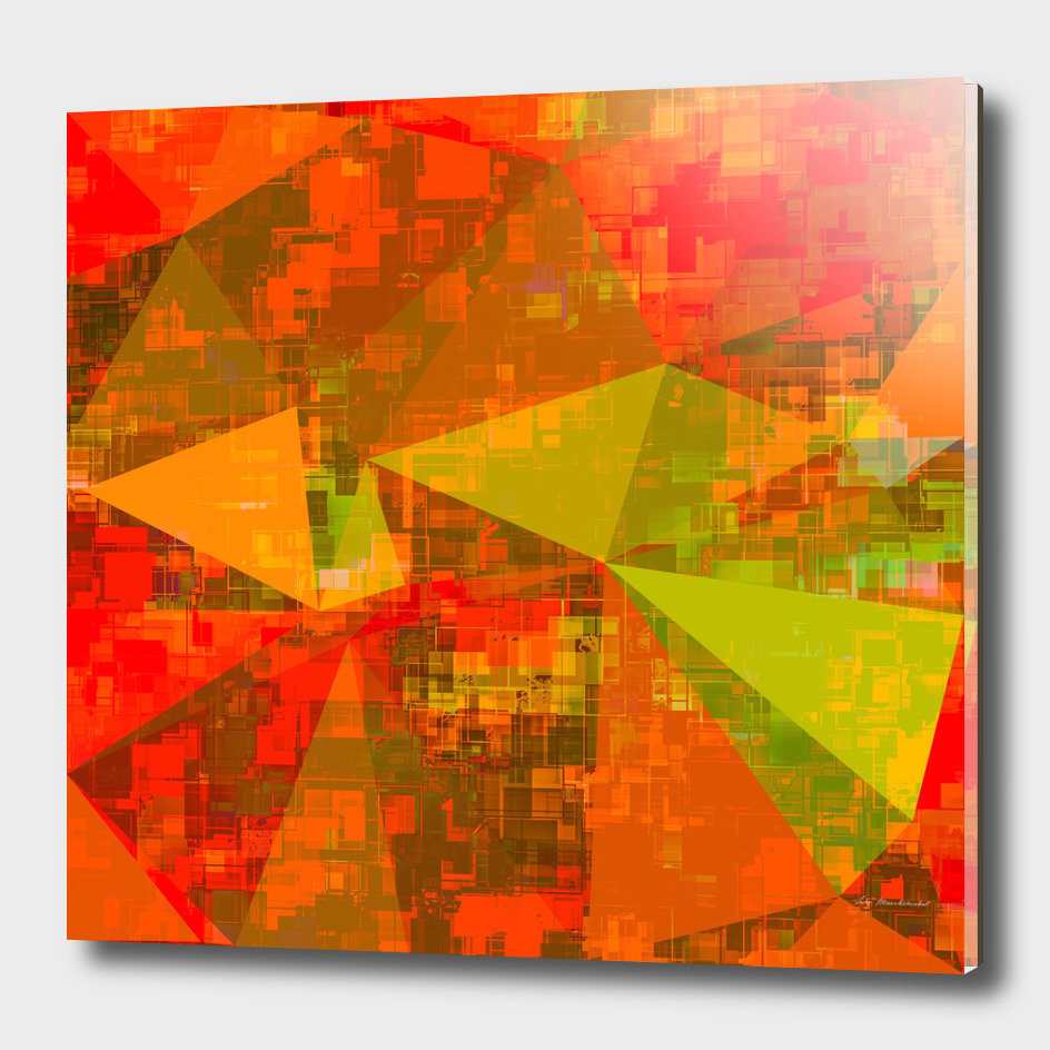 geometric triangle polygon pattern abstract in orange green