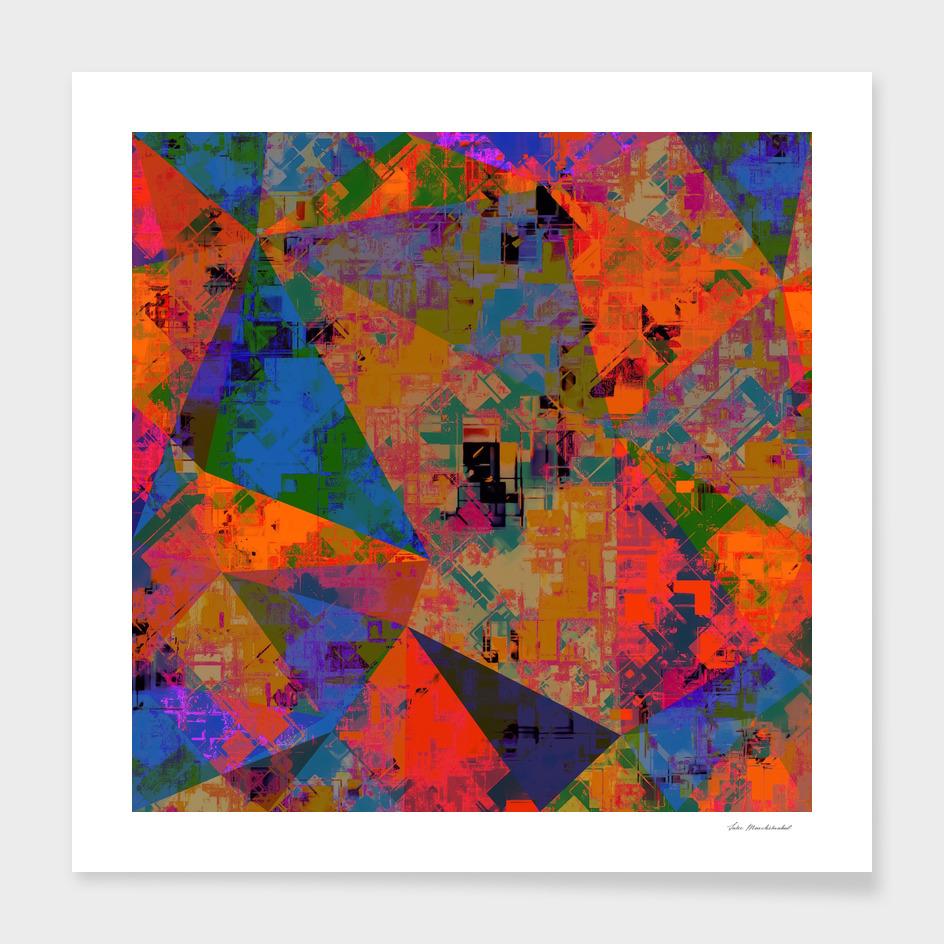 geometric triangle polygon pattern abstract in orange blue