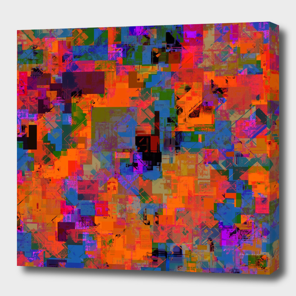 geometric square pixel pattern abstract in orange blue pink