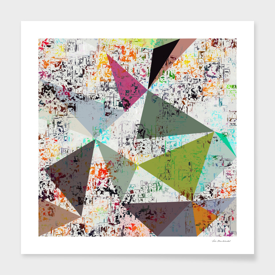 geometric triangle polygon pattern abstract in green brown