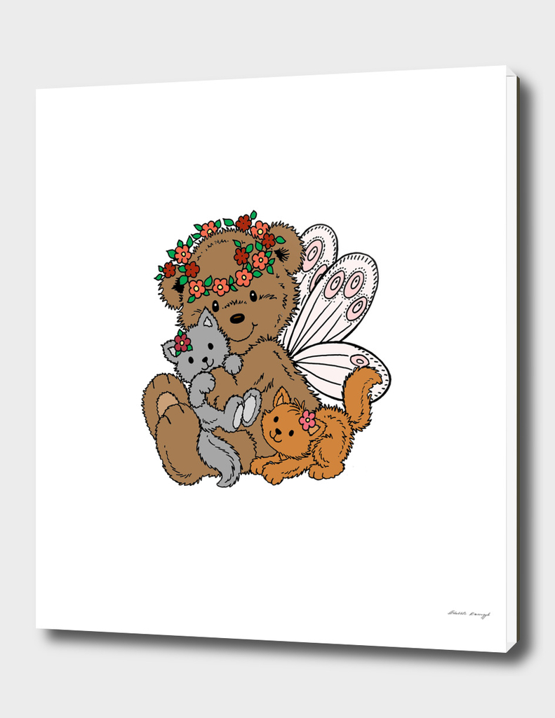 Bear Angel with Kittens a