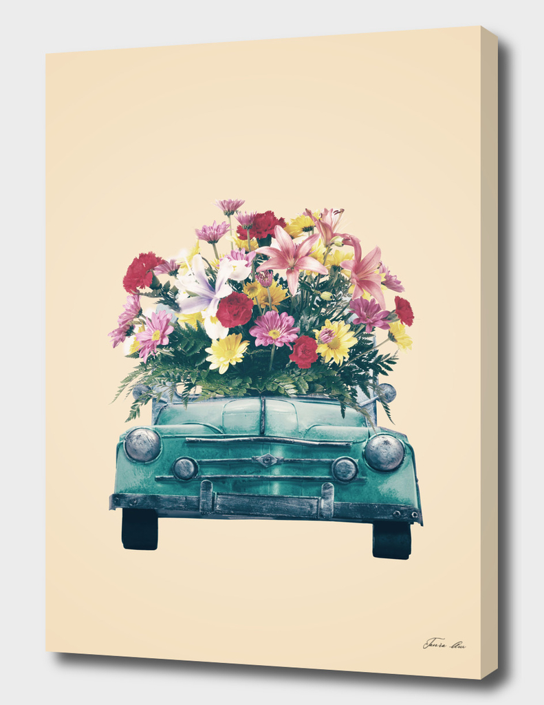 Blue retro car with flowers