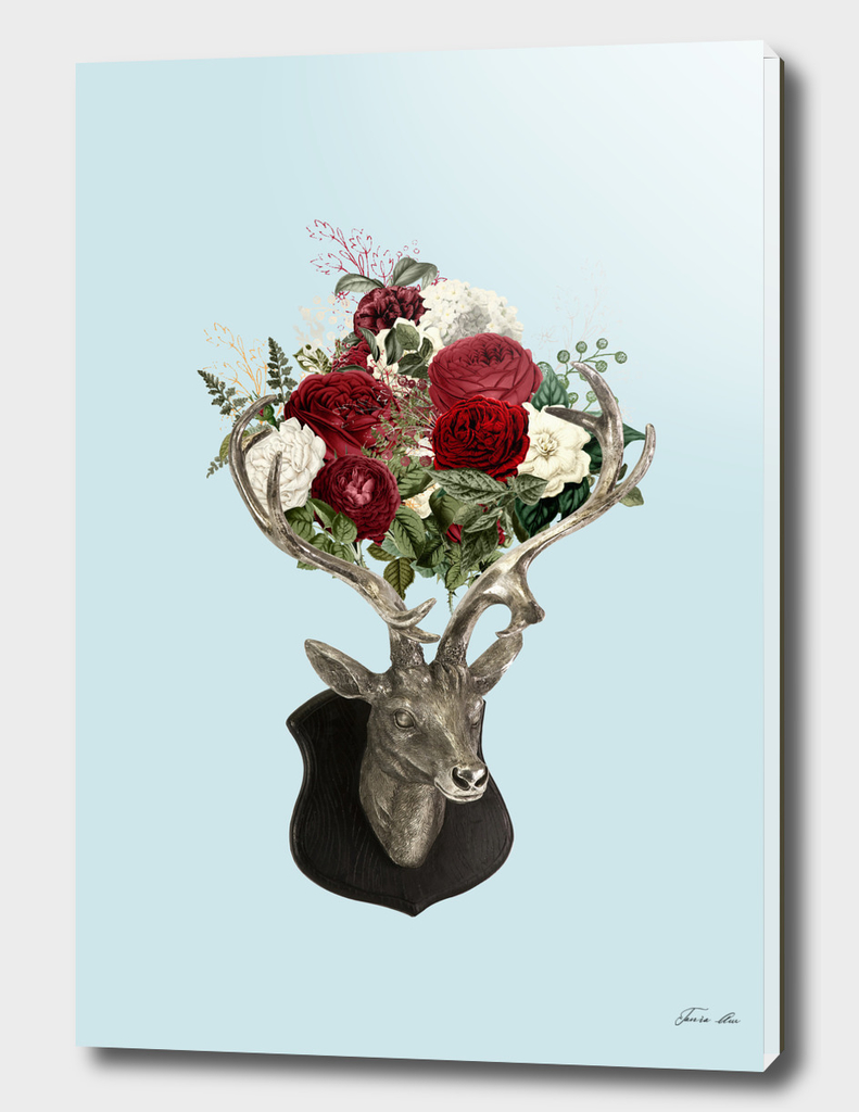 buck of eight flowers over blue