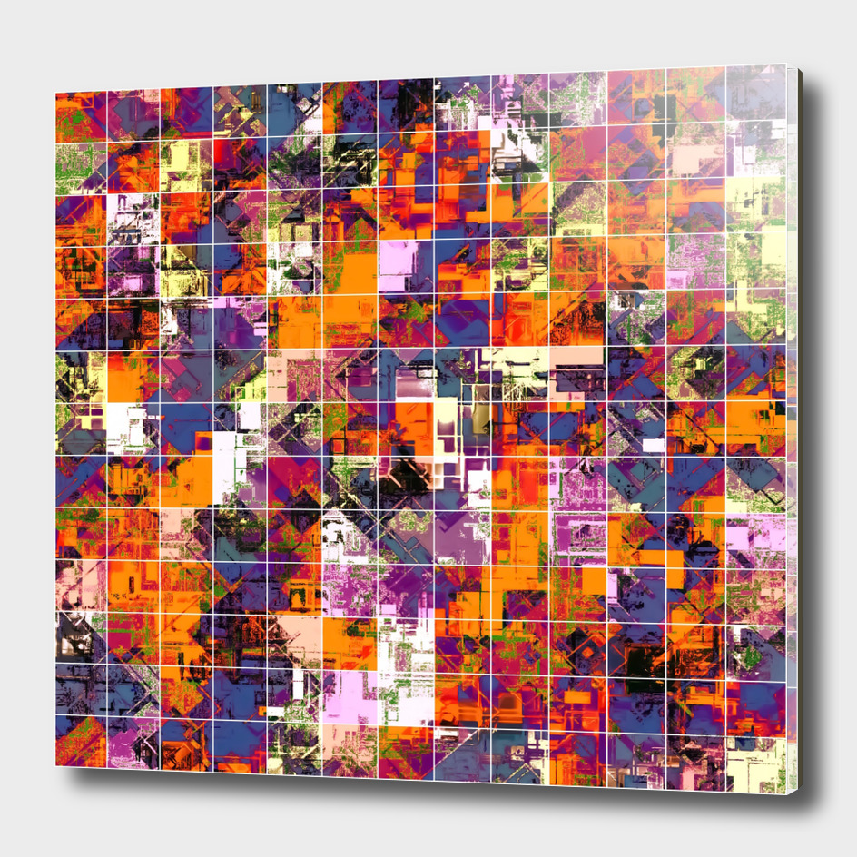 geometric square pattern painting abstract in orange blue