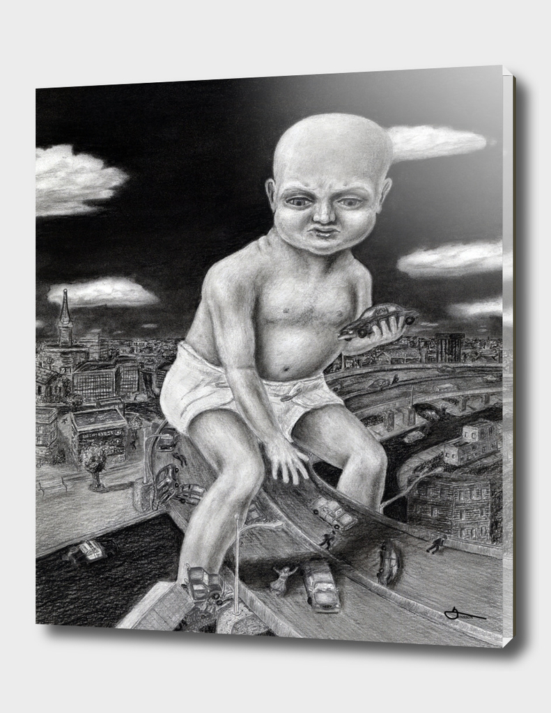 Attack of the Giant Baby - charcoal drawing