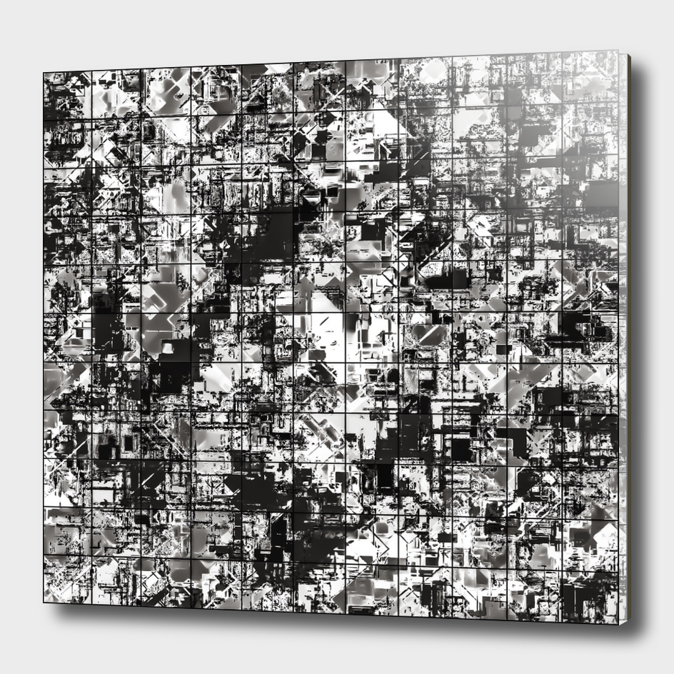 geometric square pattern abstract in black and white