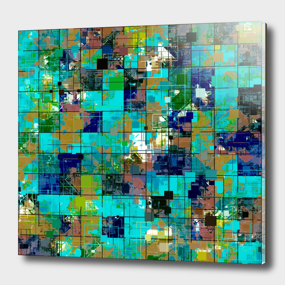 geometric square pattern painting abstract in green blue