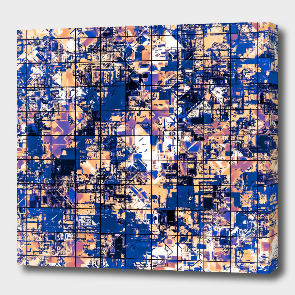 geometric square pattern painting abstract in blue brown