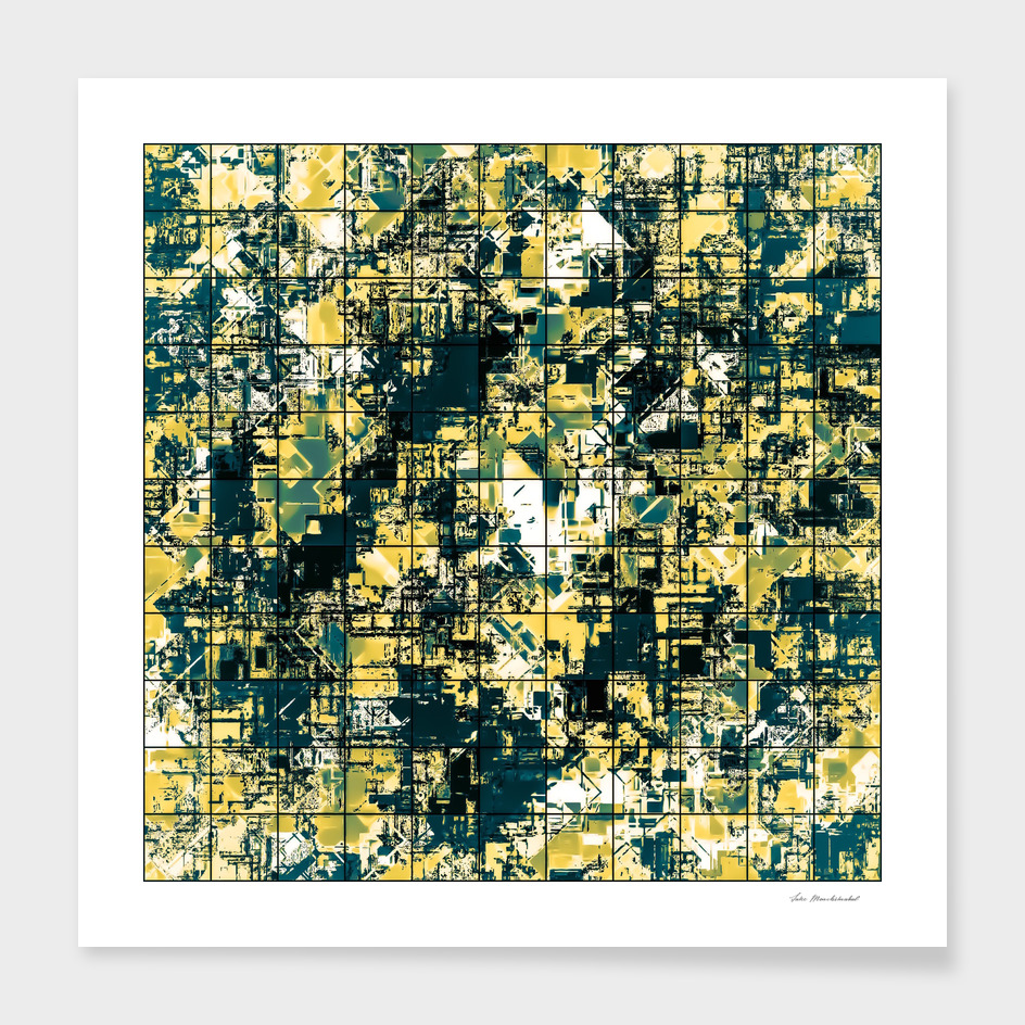 geometric square pattern painting abstract in yellow green