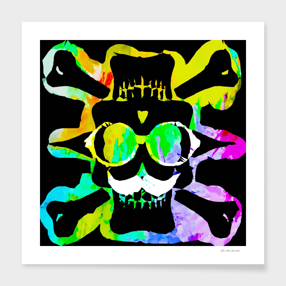 old funny skull portrait with splash painting abstract