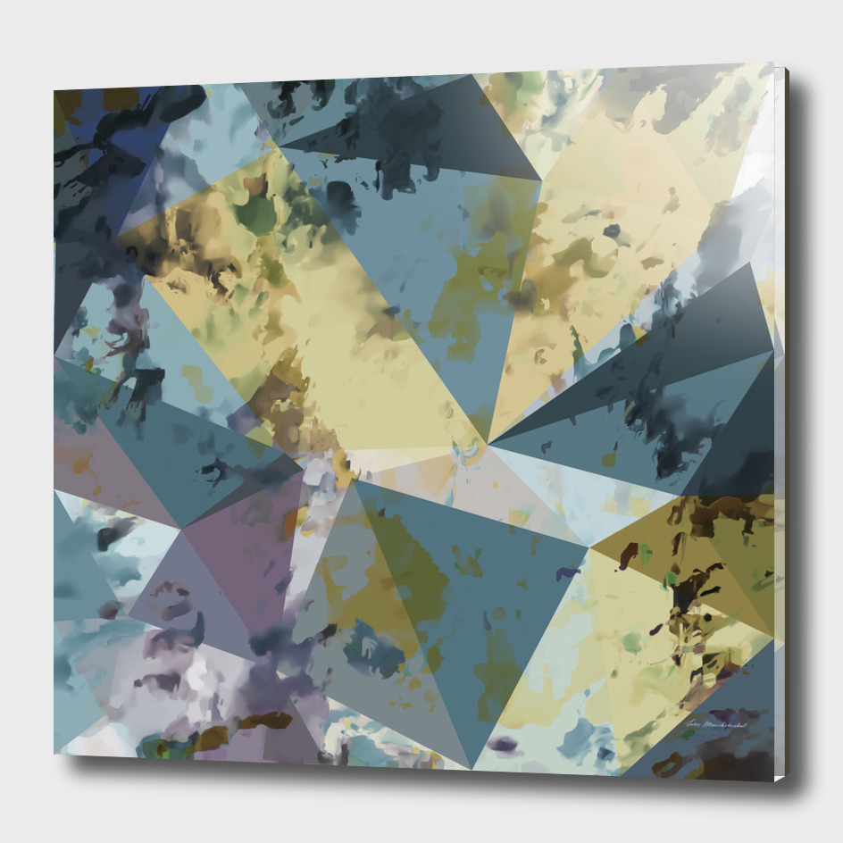 geometric triangle polygon pattern abstract in blue yellow