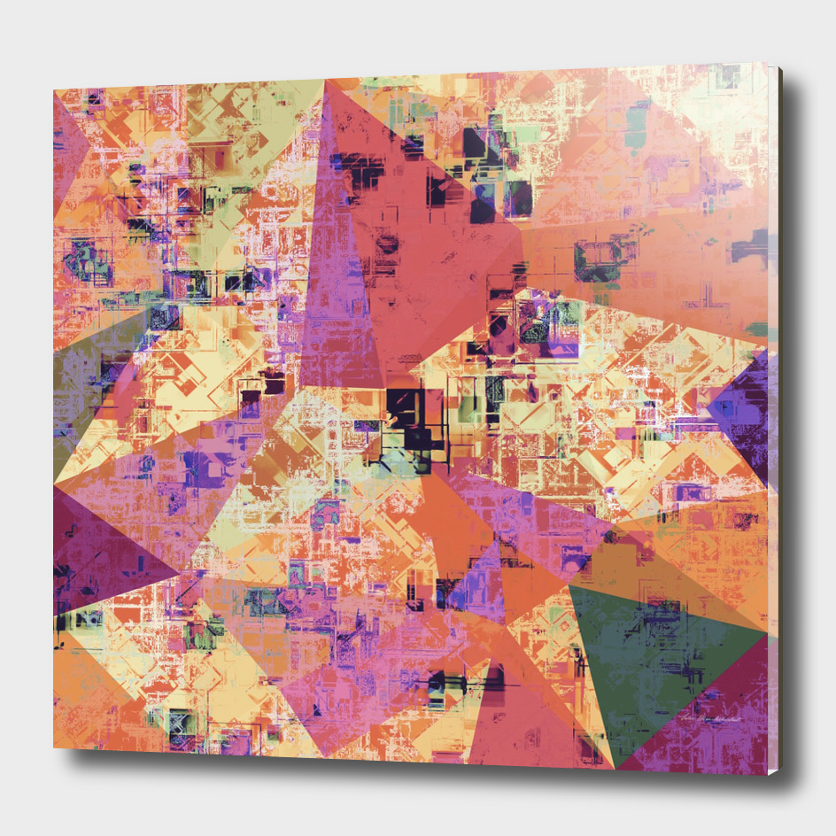 geometric triangle polygon pattern abstract in orange pink