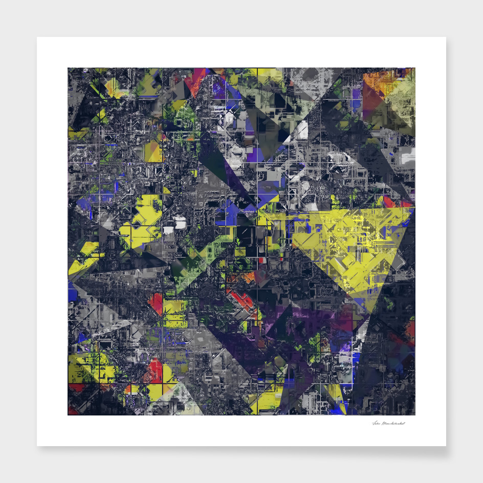geometric triangle pattern abstract in yellow blue black