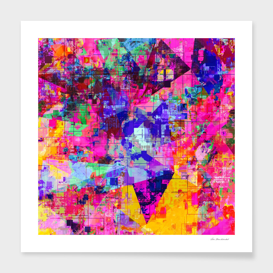 geometric pattern painting texture abstract in pink blue