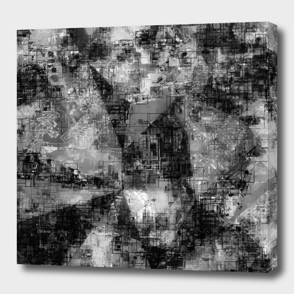 geometric painting texture abstract in black and white