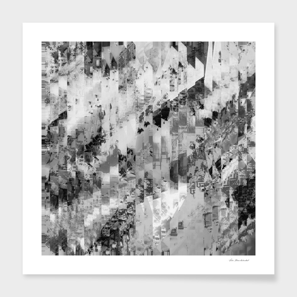 geometric line pattern painting abstract in black and white