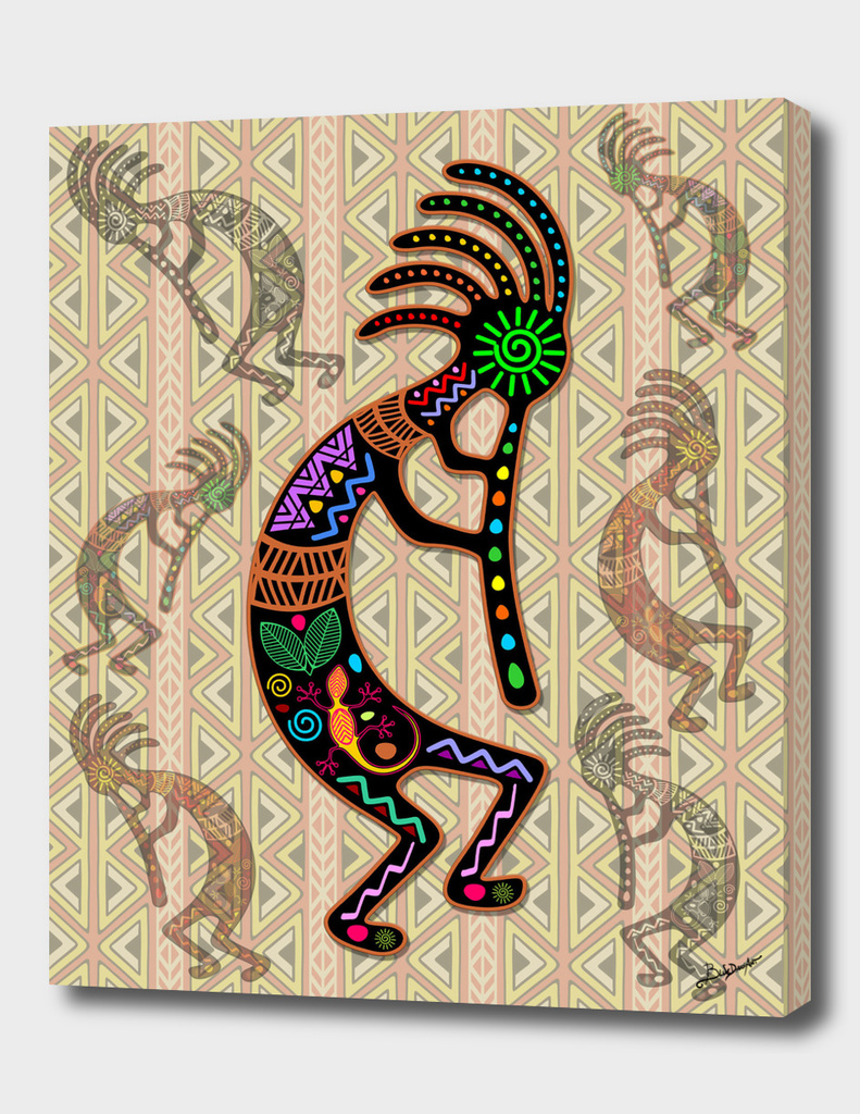 Kokopelli Rainbow Colors on Tribal Pattern