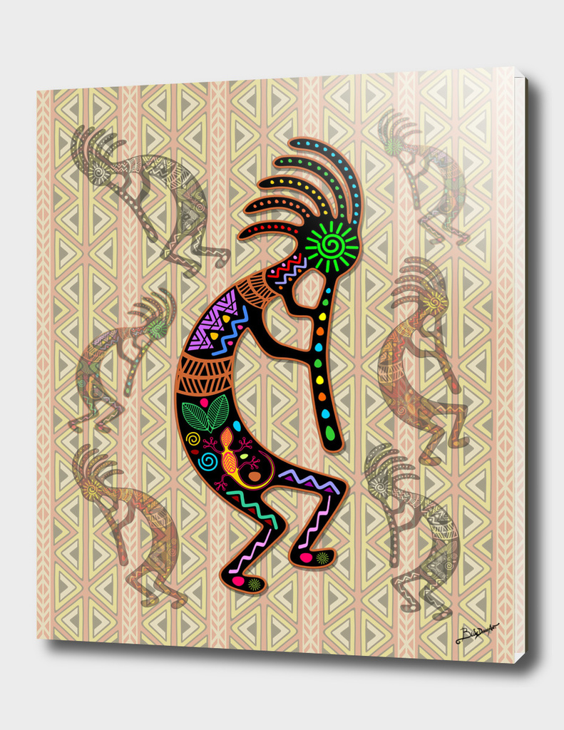 Kokopelli Rainbow Colors on Tribal Pattern