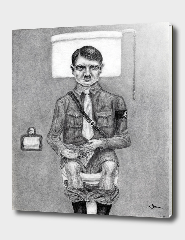 Hitler on the Toilet - charcoal drawing