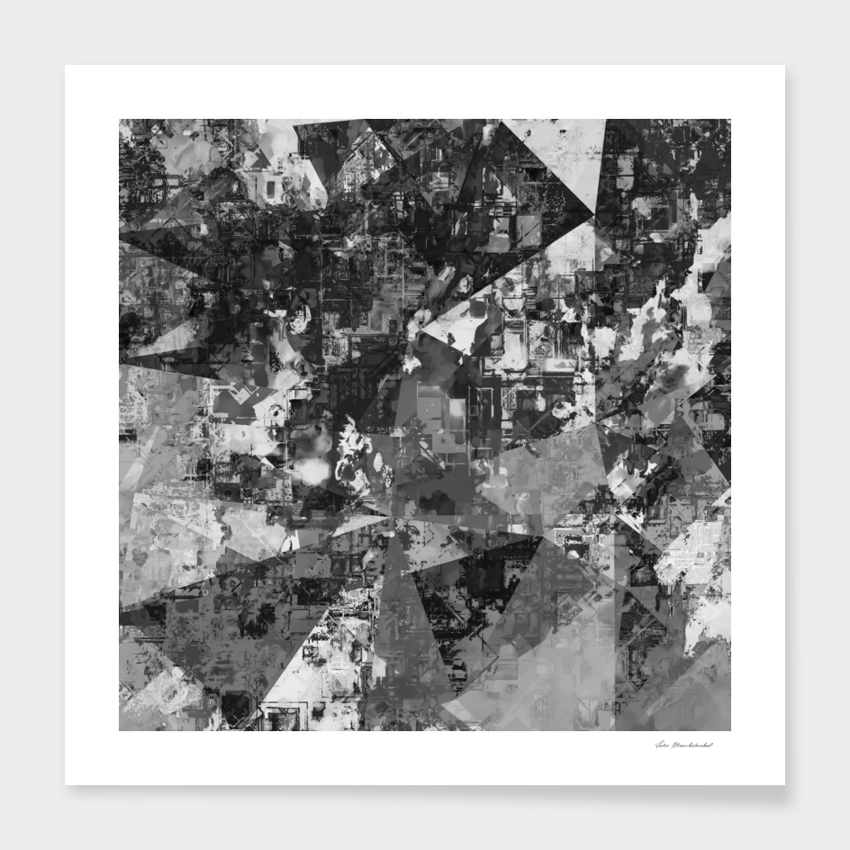 geometric pattern painting abstract in black and white