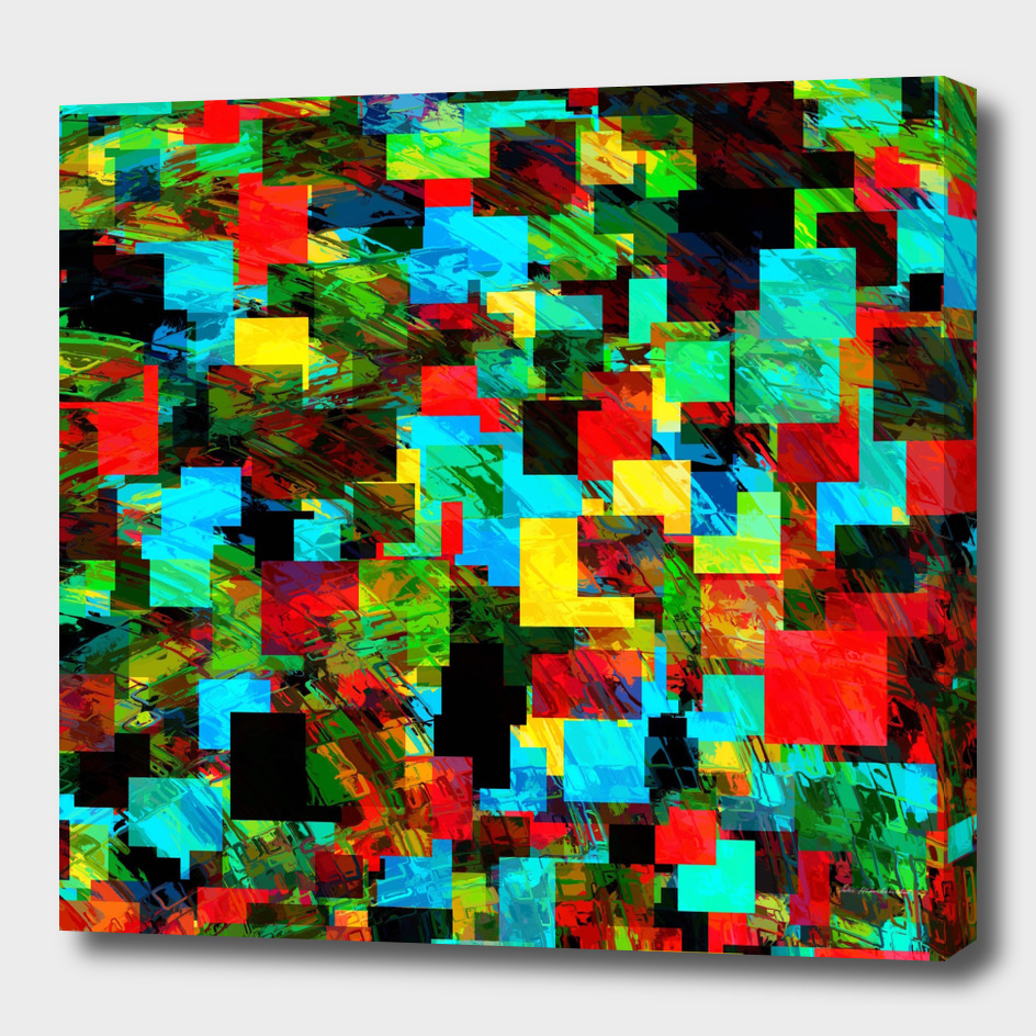 geometric square pixel pattern abstract in red blue green