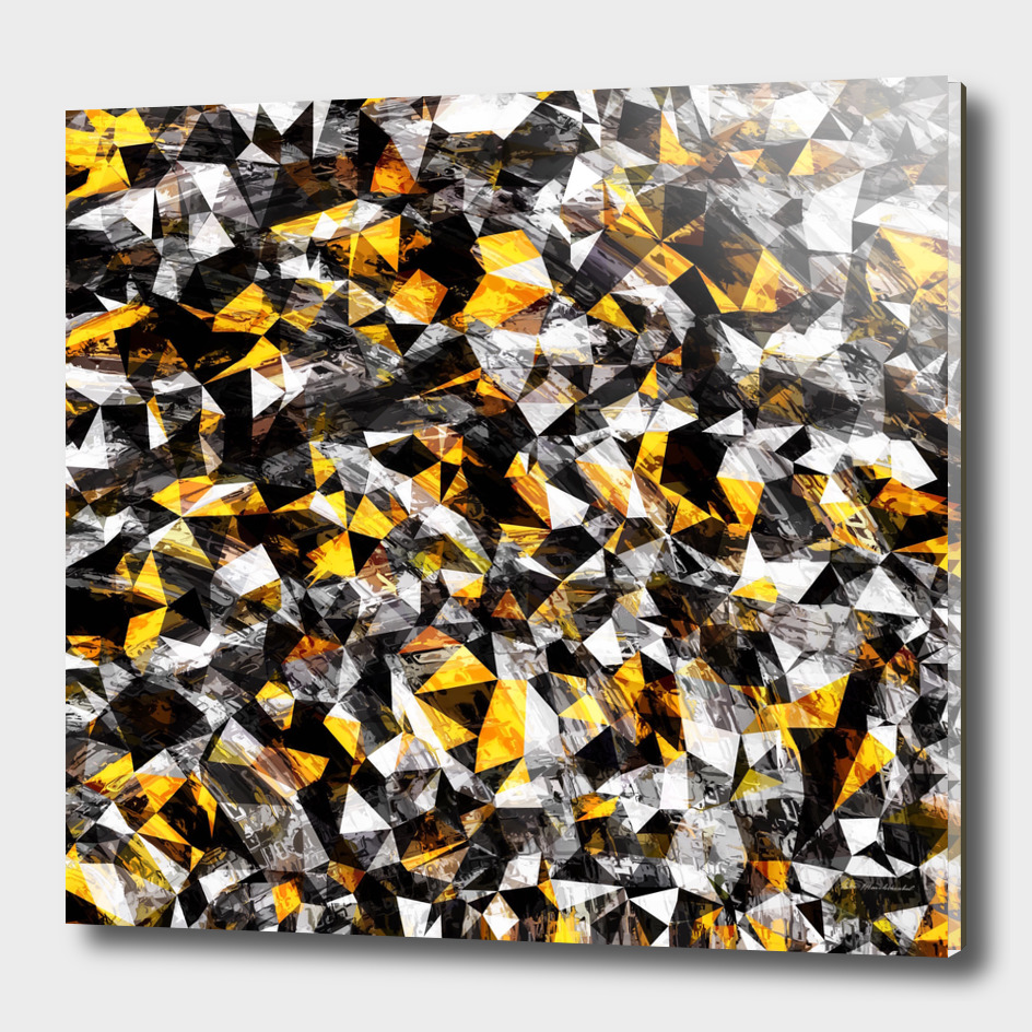 geometric triangle polygon pattern abstract in yellow black
