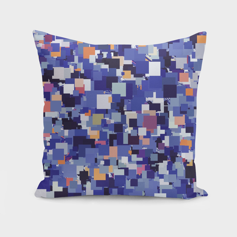 geometric square pixel pattern abstract in blue brown