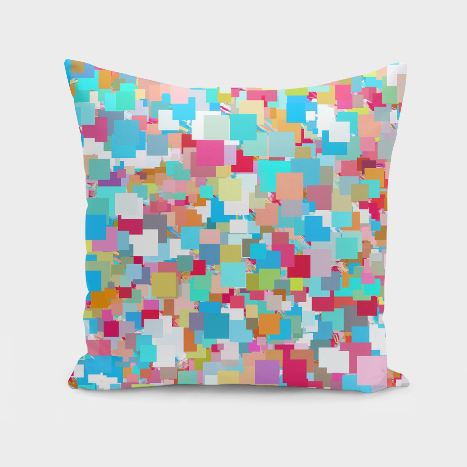 geometric square pattern abstract in blue pink yellow