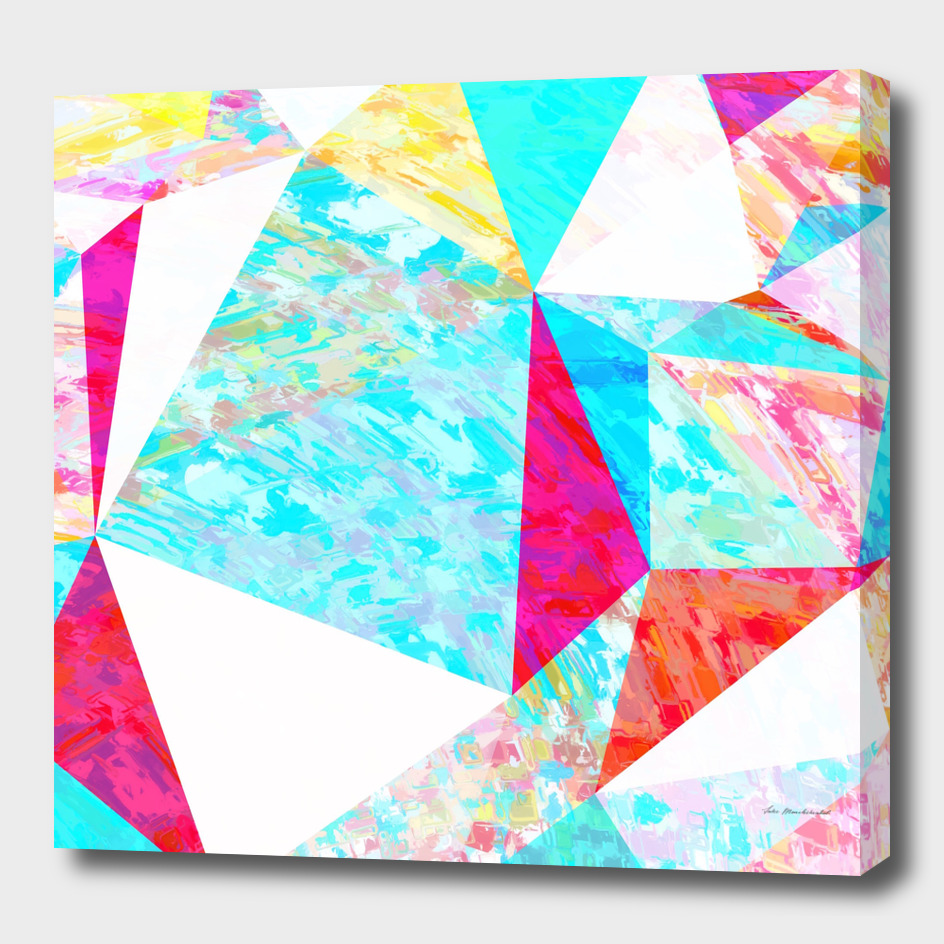 geometric triangle polygon pattern abstract in blue pink