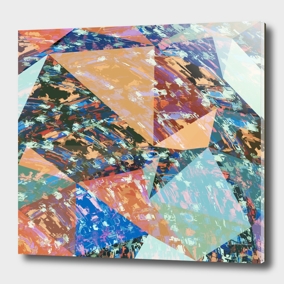 geometric triangle polygon pattern abstract in brown blue