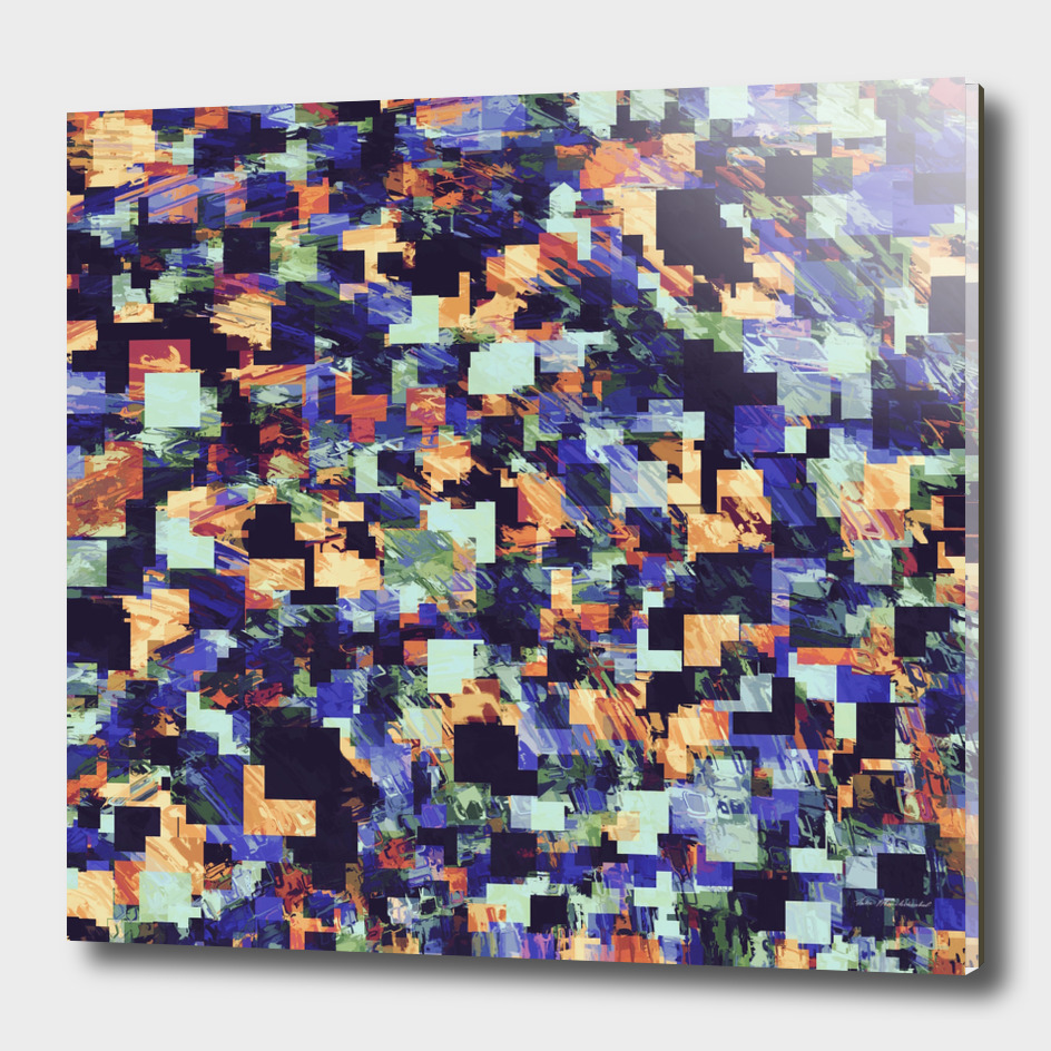 geometric square pixel pattern abstract in blue and brown