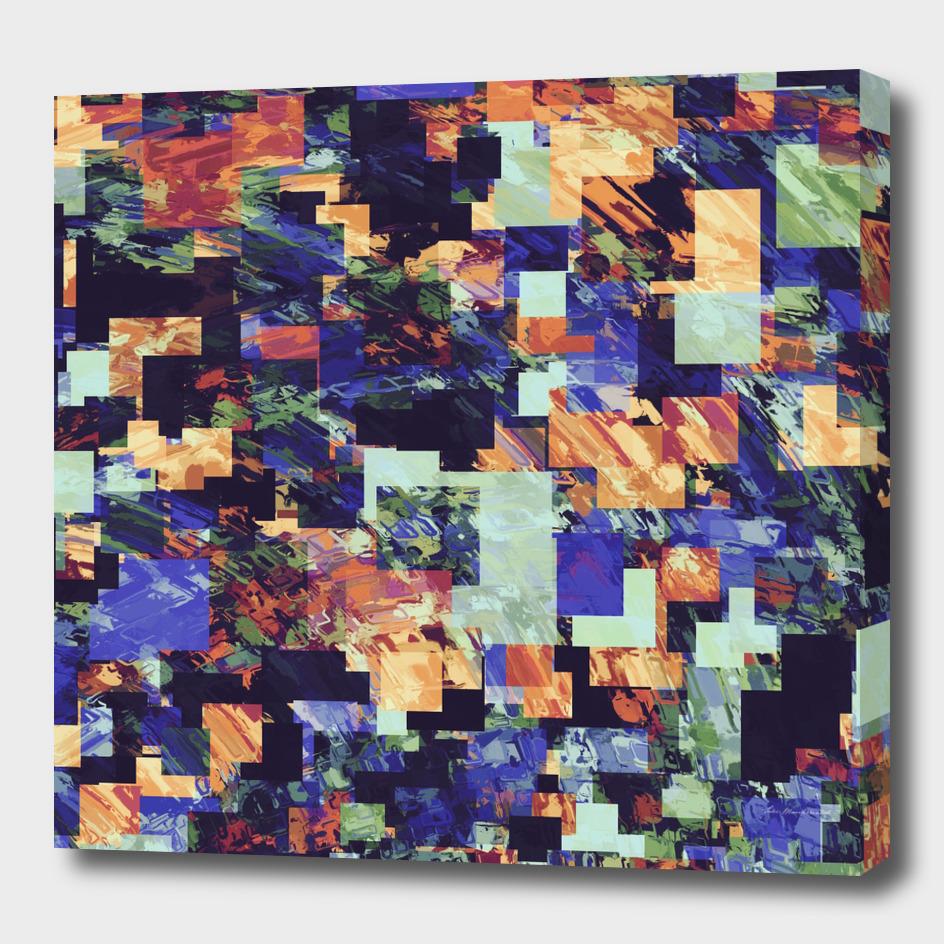 geometric square pixel pattern abstract in brown blue