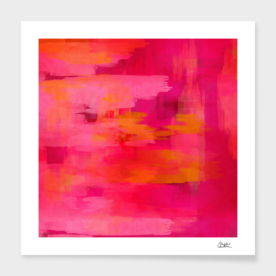"""Abstract brushstrokes in pastel pinks and oranges"""